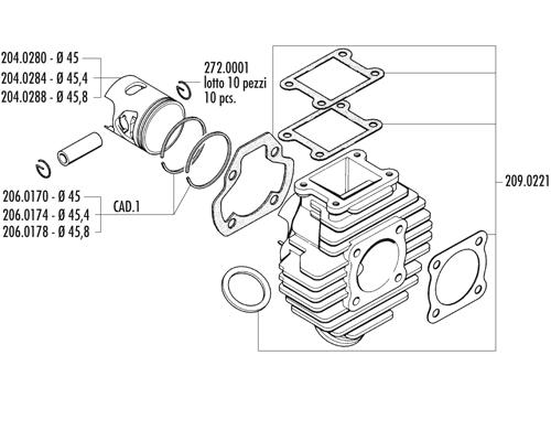 cylinderkit chappy 70 cc polini utg u00c5tt