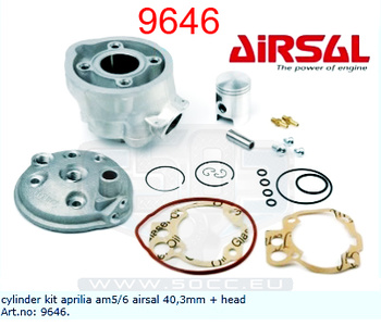 CylinderMinarelli Am5/6 50Cc Airsal 40,3Mm + Topplock